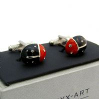 Black Ladybird Ladybug Cufflinks by Onyx Art Gift Boxed CK637